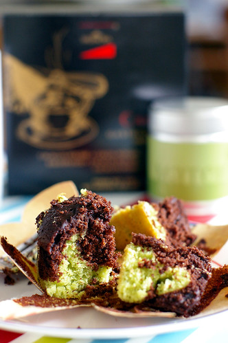 Chocolate and Matcha Cupcake
