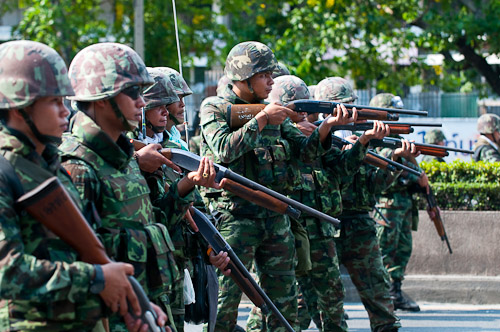 Soldiers preparing to fire at red shirt protesters, Rama IV, Bangkok