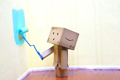 Danbo is renovating... EXPLORED yay (butacska) Tags: blue colors yellow wall painting sony danbo