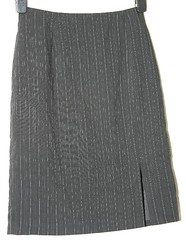 Samantha's pinstripe straight skirt (longyman) Tags: abandoned trash found junk suit rubbish waste discarded miniskirt thrownaway pencilskirt straightskirt straightpencilskirt