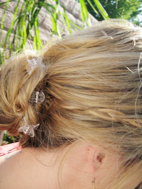 braids into bun with jaw clips