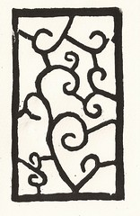 Woodblock with curves - Arches white 1