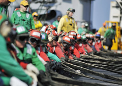 USS Harry S. Truman prepares for flight operations [Image 2 of 3] (DVIDSHUB) Tags: navy usnavy atsea ussharrystruman maritimesecurityoperations 5thfleet ussharrystrumancvn75carrierstrikegroup crashbarricadedeploymentdrill