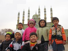 Kids at Turpan`s Green Mosque (Swamibu) Tags: china cute green kids muslim islam mosque uighur xinjiang turpan province abigfave