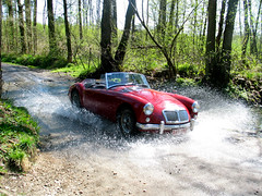MGA through a river (fre123) Tags: classic rally historic mg oldtimer british roads mga ing 2007 roadster ardenne regularity