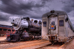 Arizona Railway Museum, Chandler, Arizona (Thad Roan - Bridgepix) Tags: old railroad arizona black phoenix museum clouds train vintage silver rust cloudy gray tracks engine rusty rail railway historic steam rusted locomotive chandler traintrack railfan hdr railfanning photomatix 200702 mywinners diamondclassphotographer
