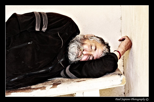 homeless man, sleeping