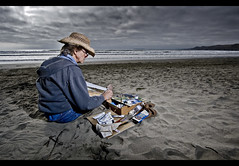 Dad Painting (Josh Sommers) Tags: ocean county ca sea sky beach fog clouds painting landscape interestingness sand dad artist acrylic waves father flash sonoma tony explore filter painter brushes dillon grad allrightsreserved paints offcamera sunpak383 strobist weekendamerica nd8x cactustrigger copyrightjoshsommers2007 tonysommers