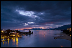 Nightfall over English Bay (Eric Flexyourhead) Tags: bridge canada water night vancouver clouds reflections bc britishcolumbia sunsetbeach englishbay vanierpark burrardstreetbridge wonderworld zd blueribbonwinner olympuse500 1445mm aplusphoto superhearts