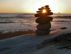 Rialto Beach Pebble Sunset (Pictoscribe) Tags: park sculpture pebble national wa balance olympic peninsula pictoscribe