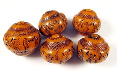 Faux Amber Egyptian Hieroglyphics Focal Beads