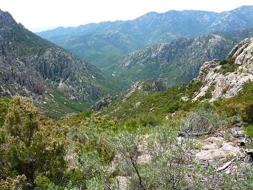 Arrivée au col 971m : la vallée de Peralzone et la crête remontée