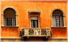 Padova, Italy -  Typical faade with balcony (jackfre2 (on a trip-voyage-reis-reise)) Tags: windows italy house beauty paint vibrant balcony charming decor padova veneto arched warmness colourpalette artofimages bestcapturesaoi
