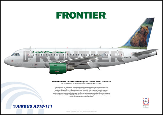 "Frontier Airlines ""Grizwald the Grizzly Bear"" BABYBUS Airbus A318-111 N801FR"