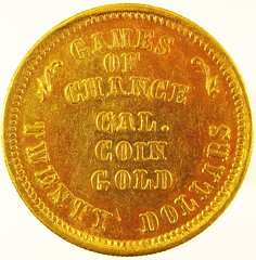 DIANA GAMES OF CHANCE TWENTY DOLLAR GOLD PIECE REV