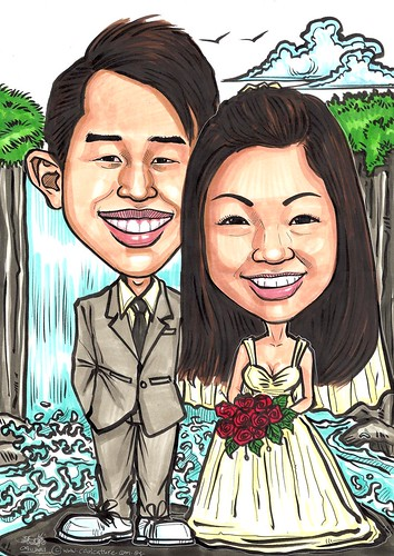 Couple wedding caricatures @ waterfall A3