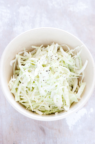 shaved cabbage salad with yoghurt dressing