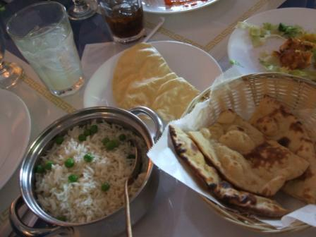 Rice, roti, poppadom