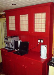 The free standing dresser (innocentcharmer) Tags: red home kitchen coffee mom check painted curtain machine kettle dresser