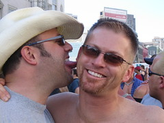 Wilson licks Kevin at Folsom Street Fair