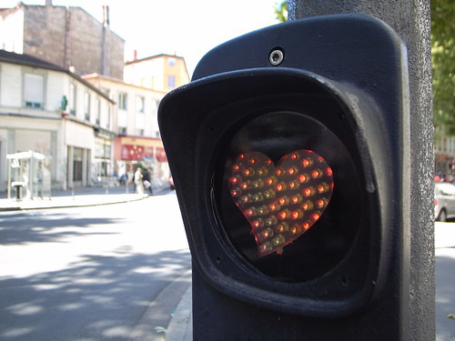 Heart traffic light in Lyon
