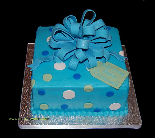 Baby Cresswell blue package cake