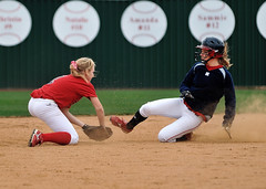 Easily out at 2nd (chemisti) Tags: girls usa nikon texas varsity softball athlete fastpitch mckinney d300 mckinneyboydhighschool tamron70200mmf28dildifmacroaf highschoolsoftballmckinneyboyd