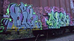 kik & dego (Making Stuff Blog) Tags: trains bnsf boxcarart fr8trains texasgraff texasbenching texasfr8s texasgraffitifreighttrains goldenwestservicefr8s