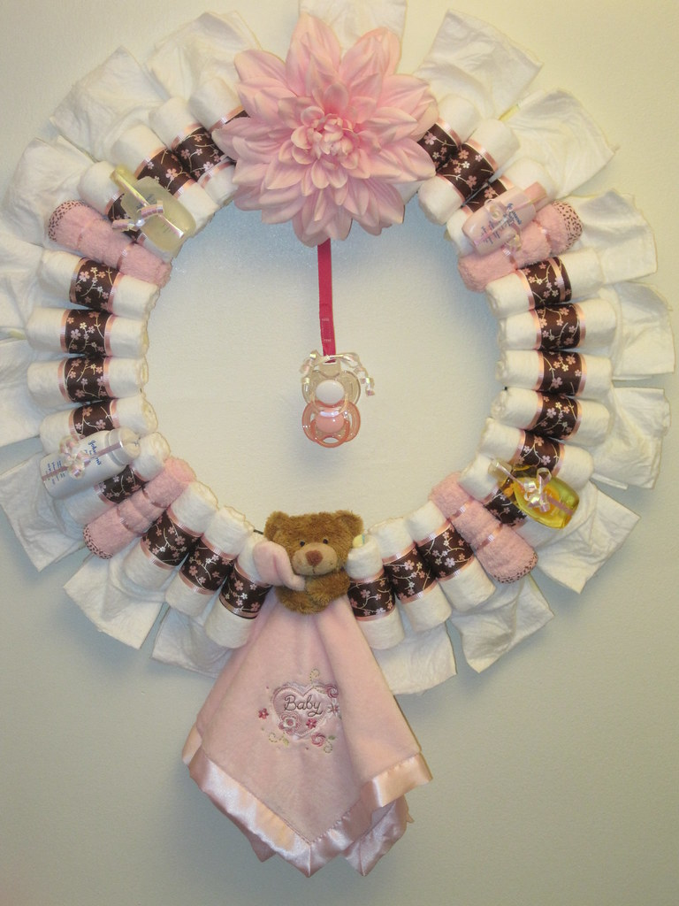 Sweet Pea Diaper Wreath-decorated