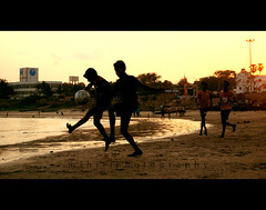 ... (M.i.h.i.r) Tags: sunset india beach kids evening football play slum vizag