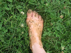 I don't need you (mereshadow) Tags: woman building girl grass toes mud skin dirt runaway clover cob pores bunions closeofkin
