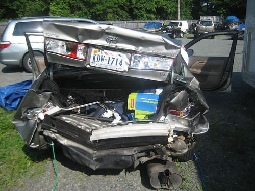 Wayne's car post-collision