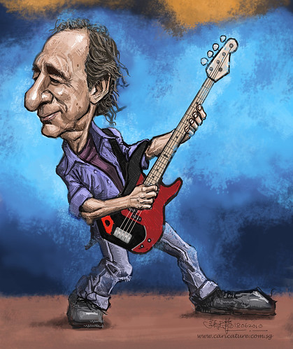digital caricature of Harry Shearer with background