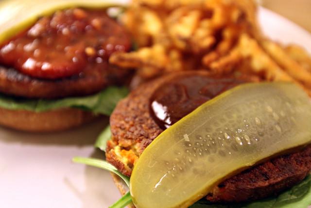 Open-face veggie burgers