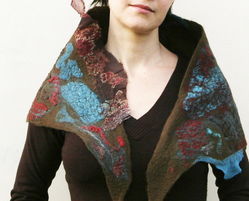 wool nuno felted scarf, triangle scarf