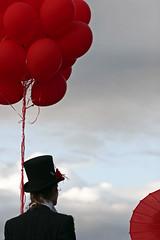 Unbearable Lightness (Bhlubarber) Tags: red music art festival vancouver balloons folk tuxedo nucleus perfomance vfmf vfmf2007 davidniddrie