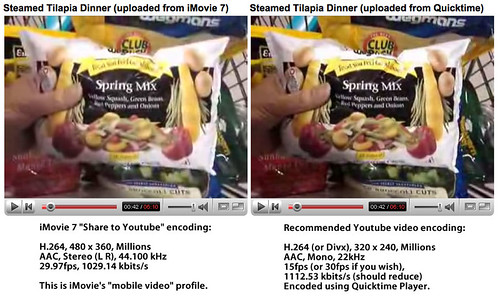 "iMovie's ""Share on Youtube"" video quality compared..."