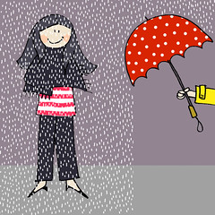 IF: Visitor (Claudia  F de Feltro) Tags: red london rain yellow illustration umbrella gray chuva f londres if feltro dots friday visitor guardachuva visitante fdefeltro