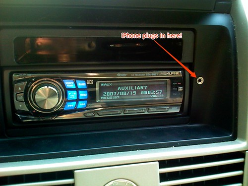 Car radio with rear aux input