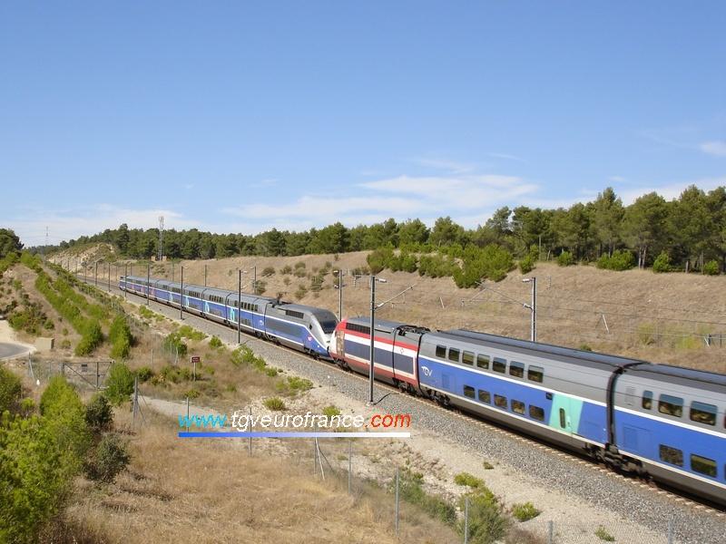 Vue des deux motrices des rames TGV (202 et 288) de la SNCF sur la LGV Valence-Marseille