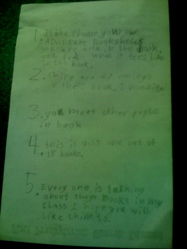 Alexander's planning sheet for his VoiceThread about Choose Your Own Adventure books