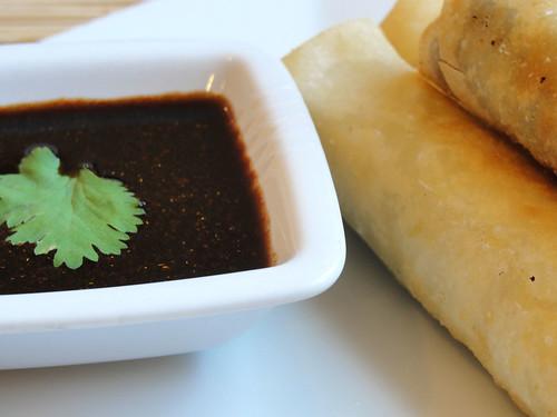 tamarind chutney and spring rolls