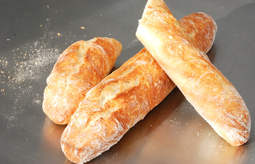 No-knead  bread freshly baked baguettes