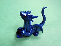Sapphire Blue Dragon (DragonsAndBeasties) Tags: blue dragon indigo september gift series pearl etsy custom gem shimmer sapphire cobalt birthstone beccagolins dragonsandbeasties