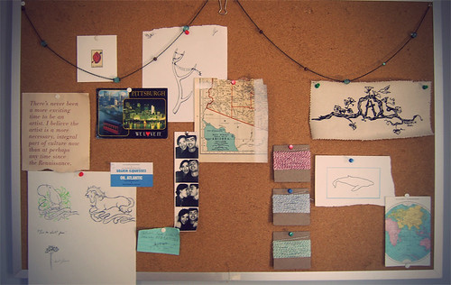 Beginnings of an inspiration board.