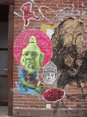 cherries (chelseafb) Tags: nyc pink usa streetart newyork pasteup pastedpaper paper graffiti chelsea urbanart elbowtoe papier papiercoll judithsupine arteurbana gaiamsg