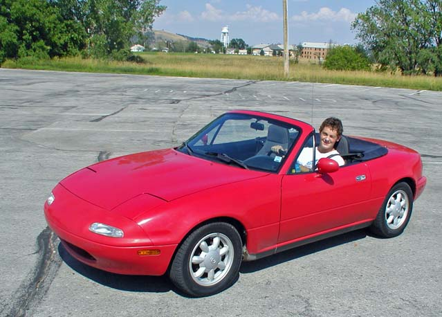 Zack learns to shift the Miata