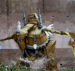 Robot Again (Fat Heat .hu) Tags: graffiti robot 3d heat obie dz cfs coloredeffects fatheat
