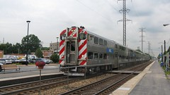 Southbound Metra commuter local. Morton Grove Illinois. August 2008.