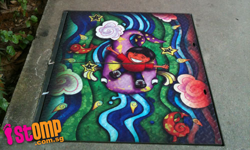 Beautiful art pieces painted on walkways next to Jurong Point